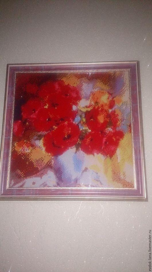 """Картины цветов ручной работы. Ярмарка Мастеров - ручная работа. Купить Алмазная вышивка """"Маки"""". Handmade. Ярко-красный, подарок"""