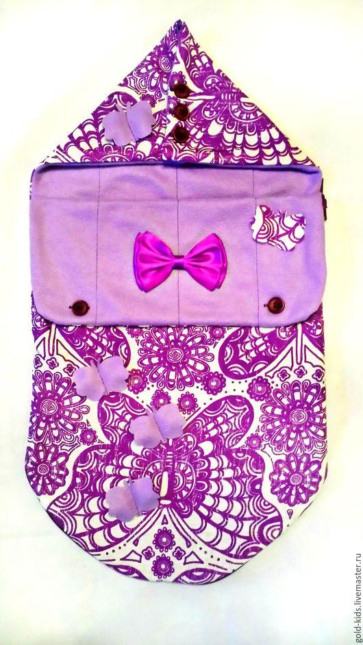 """Для новорожденных, ручной работы. Ярмарка Мастеров - ручная работа. Купить Конверт на выписку """"лиловые грёзы"""". Handmade. Фиолетовый, конверт"""