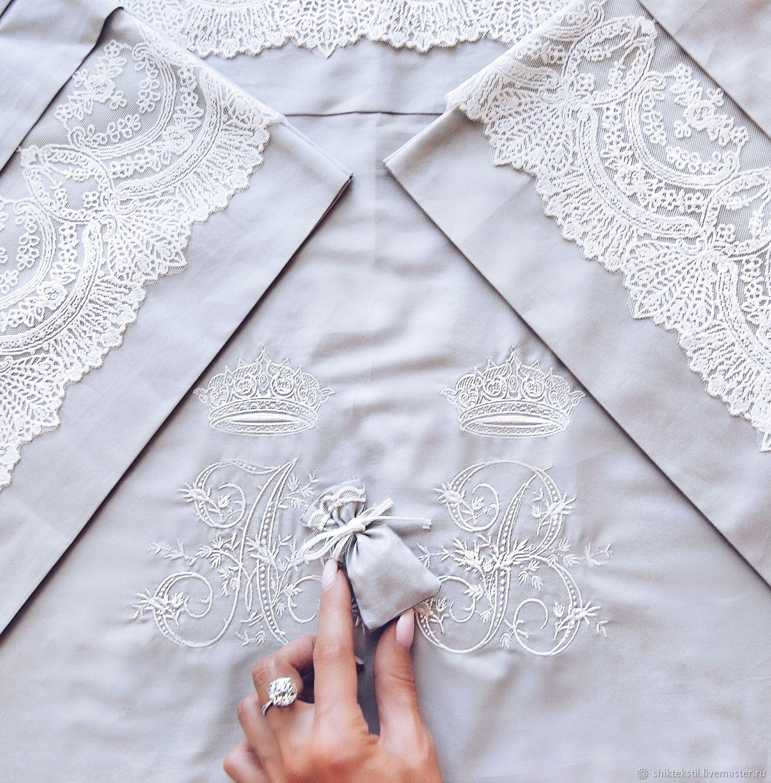 Подарок на свадьбу постельное белье Мейджик с вышивкой инициалов, Подарки, Самара,  Фото №1