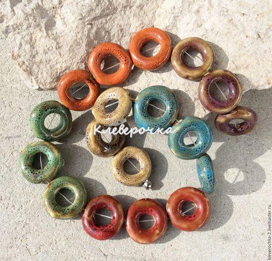 Для украшений ручной работы. Ярмарка Мастеров - ручная работа. Купить ..Керамика 18 мм - 6 цветов бублик кольцо бусины для украшений. Handmade.