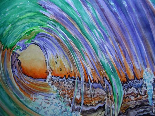 Абстракция ручной работы. Ярмарка Мастеров - ручная работа. Купить Морская волна. Handmade. Комбинированный, морская волна, абстракция, акварель