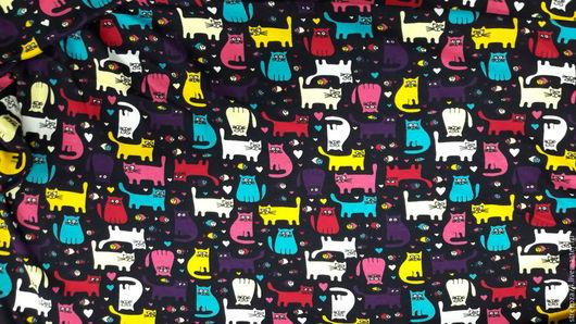 """Шитье ручной работы. Ярмарка Мастеров - ручная работа. Купить Интерлок  """"Красочные кошки"""". Handmade. Хлопок, комбинированный, хлопок 100%"""