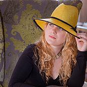 Аксессуары ручной работы. Ярмарка Мастеров - ручная работа Соломенная желтая шляпа с черной отделкой. Handmade.