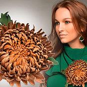 Украшения handmade. Livemaster - original item Leather flowers. Brooch hairpin CHRYSANTHEMUM