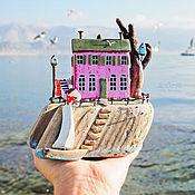 """Для дома и интерьера ручной работы. Ярмарка Мастеров - ручная работа Морская композиция """"Землянично-розовый домик""""  driftwood. Handmade."""