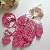 Одежда детская handmade. Livemaster - original item Jumpsuit knitted beanie and booties. Handmade.