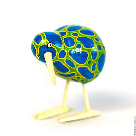 Игрушки животные, ручной работы. Ярмарка Мастеров - ручная работа. Купить Деревянная птичка киви. Handmade. Синий, Роспись по дереву