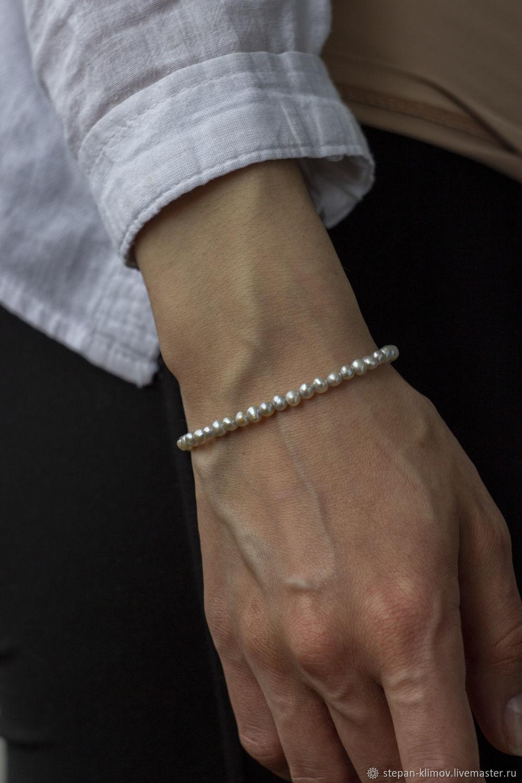 Браслет из серого жемчуга и серебра, Браслет из бусин, Красноярск,  Фото №1