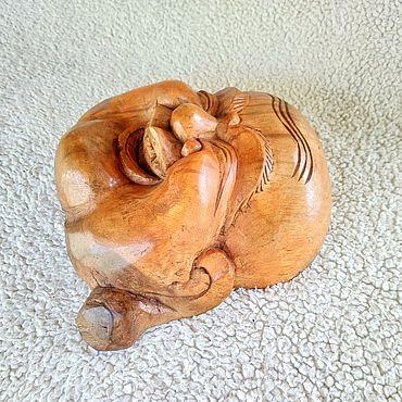 Для дома и интерьера ручной работы. Ярмарка Мастеров - ручная работа Смеющийся Будда Хотей деревянный на стену с острова Бали.. Handmade.