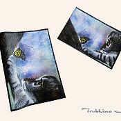 """Канцелярские товары ручной работы. Ярмарка Мастеров - ручная работа Обложка на паспорт + визитница """"Охота на бабочек"""". Handmade."""