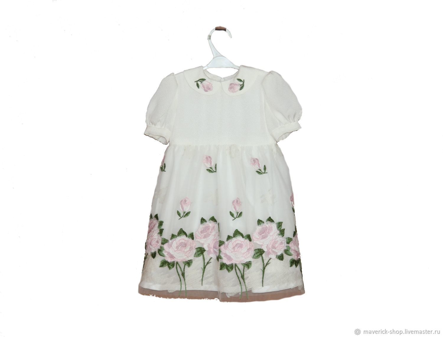 White dressy girl's dress with embroidered roses in shabby chic style, Dresses, Moscow,  Фото №1