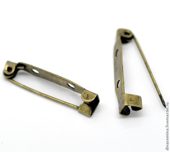 Основа для броши с 2мя отверстиями для пришивания 31*6 мм Цинковый сплав Не