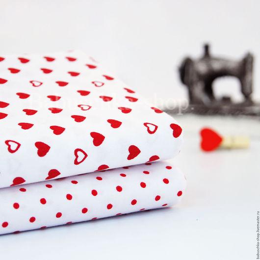 """Куклы и игрушки ручной работы. Ярмарка Мастеров - ручная работа. Купить Ткань хлопок """"Горох и сердце"""". Handmade. Ткань для творчества"""