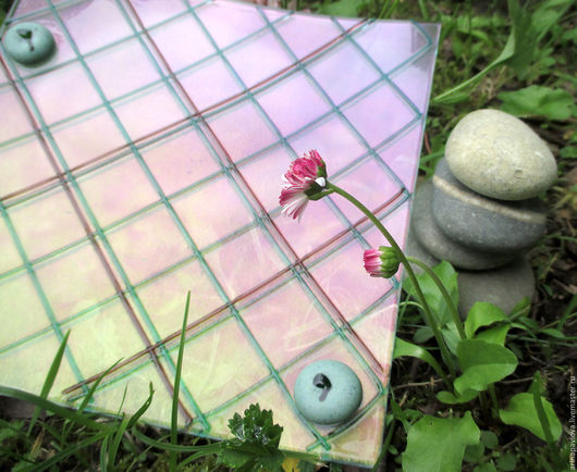 Тарелки ручной работы. Ярмарка Мастеров - ручная работа. Купить Тарелка из стекла Клетки. Фьюзинг. Handmade. Комбинированный, тарелка из стекла