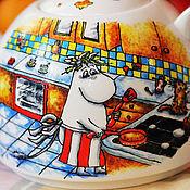 Посуда ручной работы. Ярмарка Мастеров - ручная работа Чайник с муми-троллями. Handmade.
