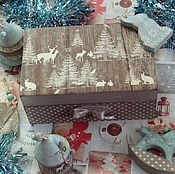 Подарки к праздникам handmade. Livemaster - original item Christmas toys in the box In the fairy forest . Decoupage Christmas decorations. Handmade.
