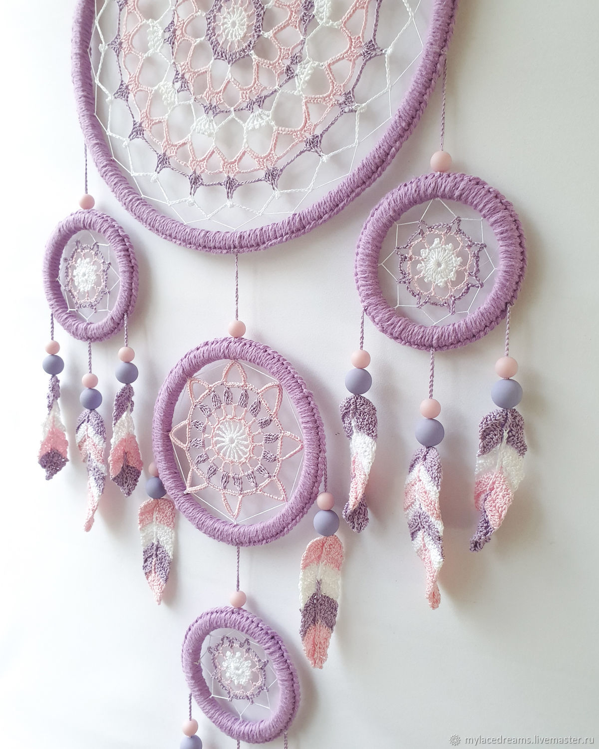 Big purple and pink lace dreamcatcher with crocheted feathers, Dream catchers, St. Petersburg,  Фото №1