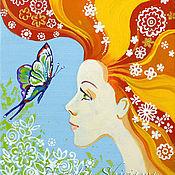 Картины и панно handmade. Livemaster - original item Painting red-Haired angel canvas acrylic. Handmade.