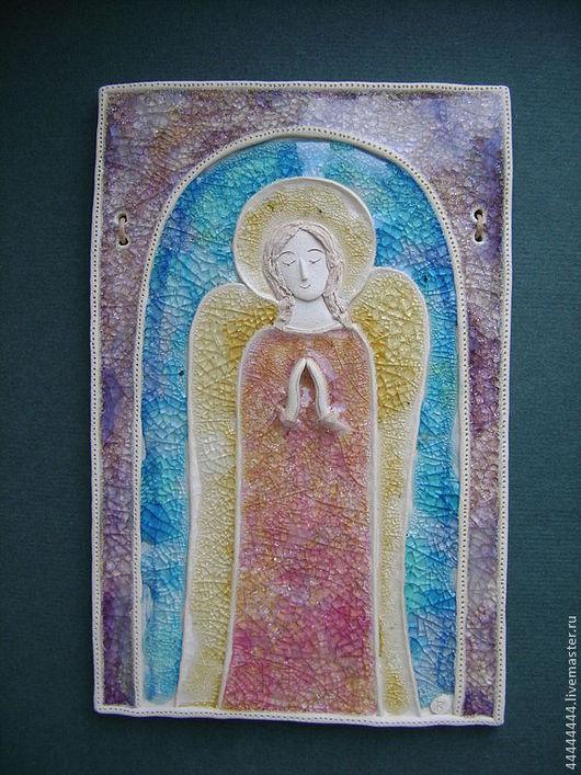 Символизм ручной работы. Ярмарка Мастеров - ручная работа. Купить панно Ангел рассвета Керамика. Handmade. Ангел, подарок, небесный