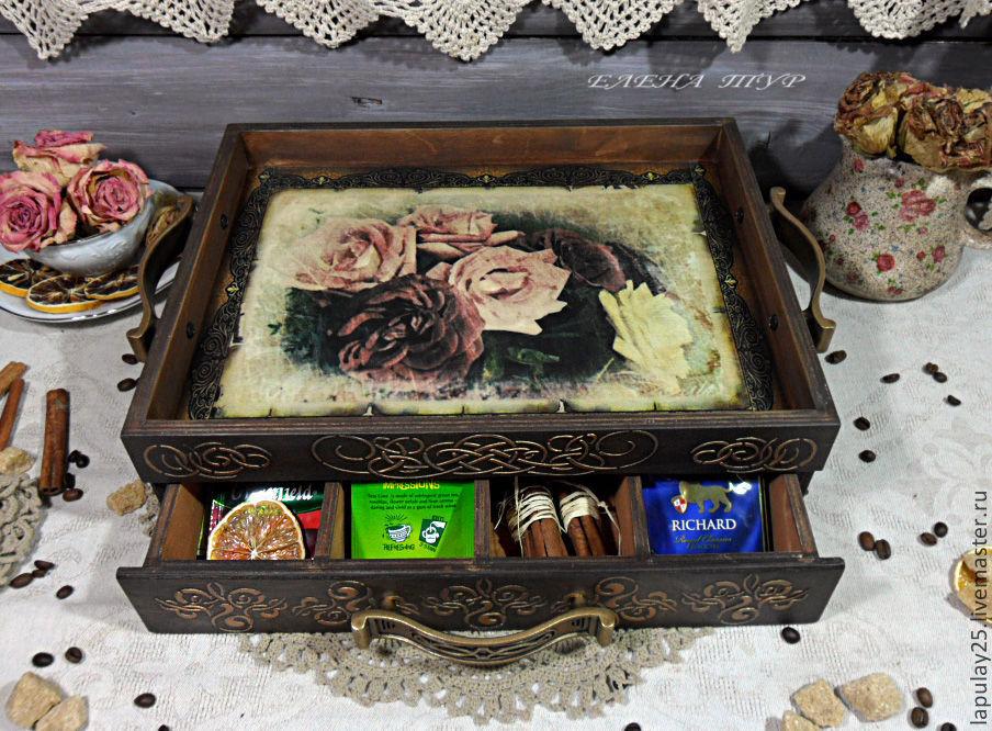 """Корзины, коробы ручной работы. Ярмарка Мастеров - ручная работа. Купить """"Радость миледи"""" Чайный сервировочный короб поднос. Handmade."""