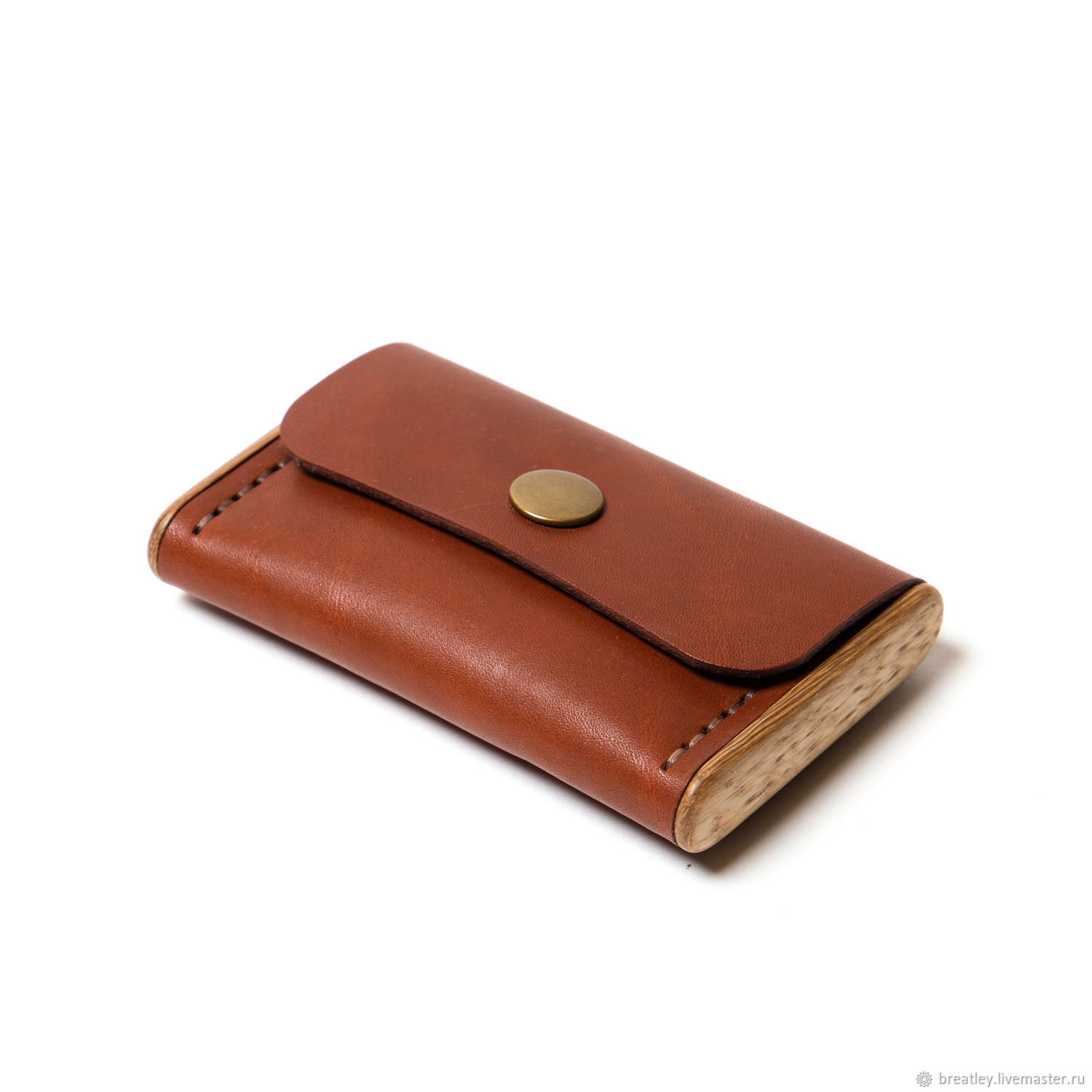 Cognac-colored leather cardholder-BREATLEY-cardholder with wood, Business card holders, Moscow,  Фото №1