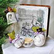 """Подарки к праздникам handmade. Livemaster - original item Набор елочных игрушек в коробе """"Vintage"""". Handmade."""