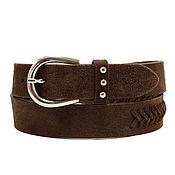 Аксессуары handmade. Livemaster - original item Copy of Brown suede belt. Handmade.