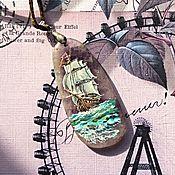"""Украшения ручной работы. Ярмарка Мастеров - ручная работа Кулон """" Путешествия"""" роспись по камню, аметист, масло. Handmade."""