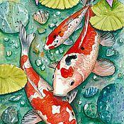 Иллюстрации ручной работы. Ярмарка Мастеров - ручная работа Карпы.. Handmade.