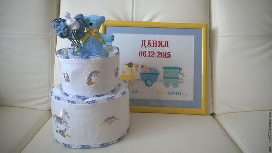 Подарки для новорожденных, ручной работы. Ярмарка Мастеров - ручная работа. Купить Торт для новорожденного и метрика. Handmade. Белый, метрика