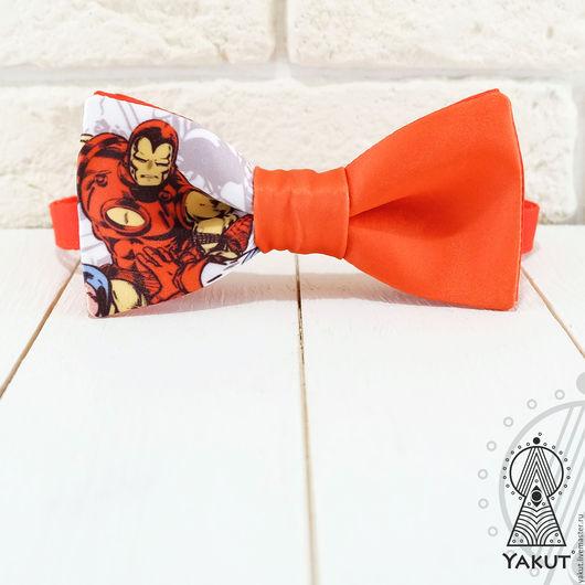 Галстуки, бабочки ручной работы. Ярмарка Мастеров - ручная работа. Купить Галстук бабочка Железный человек  / бабочка-галстук красная супергерои. Handmade.