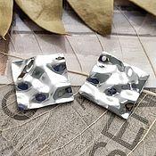 Материалы для творчества handmade. Livemaster - original item Suspension crumpled metal 25 mm platinum (3434). Handmade.