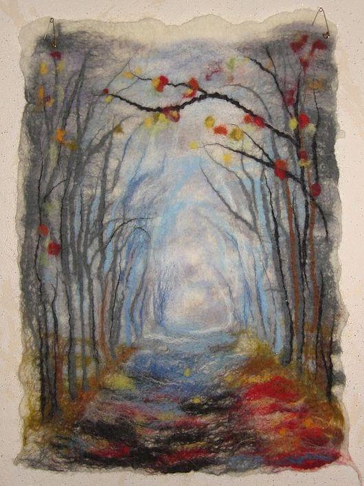 """Пейзаж ручной работы. Ярмарка Мастеров - ручная работа. Купить """"Дорога к Зиме""""  войлочная картина. Handmade. Картина, авторская картина"""