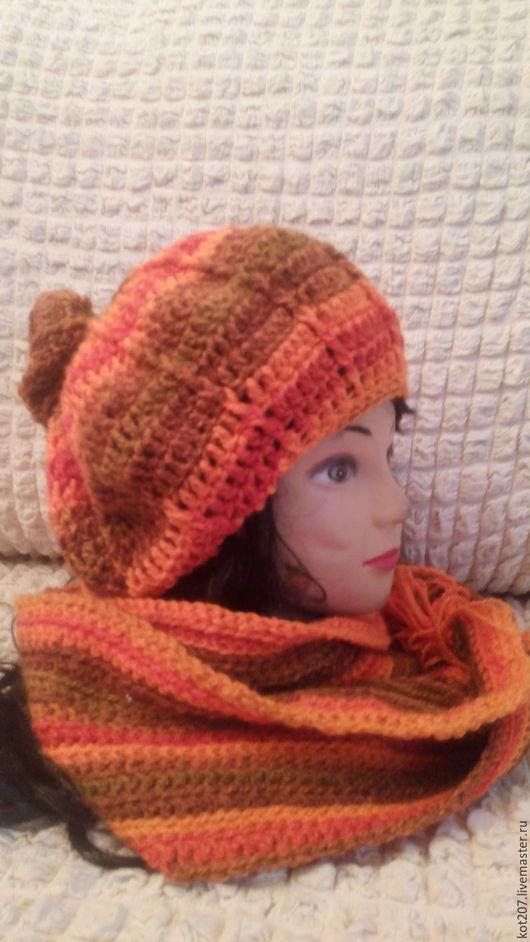 Беретка с помпоном и шарф, рыжий, комплект
