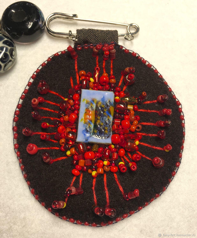 Броши: брызги красного, Брошь-булавка, Тель-Авив,  Фото №1