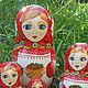 Matryoshka with strawberry (7 set) the artwork of Lidia Rasumova