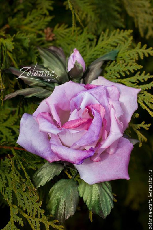 """Броши ручной работы. Ярмарка Мастеров - ручная работа. Купить Роза-брошь из шелка """"Флирт"""". Цветы из шелка. Цветы из ткани.. Handmade."""
