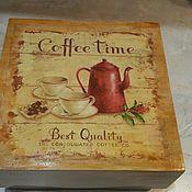 """Для дома и интерьера ручной работы. Ярмарка Мастеров - ручная работа Чайный короб """"Coffee time"""". Handmade."""