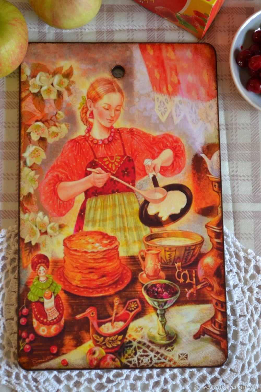 """Разделочная доска """"Хозяюшка"""" с кухней,блинами, Доски, Борисоглебск,  Фото №1"""