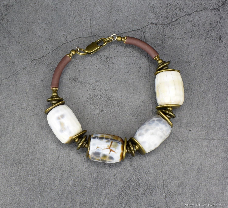 Natural white agate bracelet. Bracelet agate. Agate bracelet, Bead bracelet, Moscow,  Фото №1