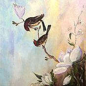 Картины и панно ручной работы. Ярмарка Мастеров - ручная работа Картина маслом  Птицы и цветы.  Авторская картина маслом на холсте.. Handmade.