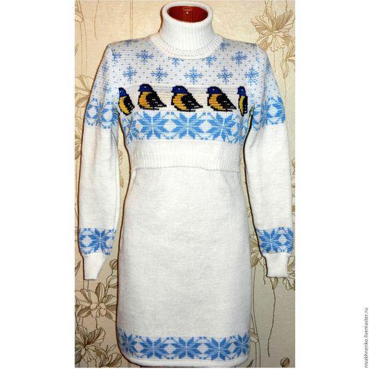 Для будущих и молодых мам ручной работы. Ярмарка Мастеров - ручная работа. Купить Платье вязаное для кормления Синичка. Handmade.
