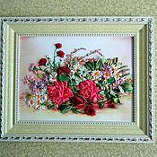 Картины и панно ручной работы. Ярмарка Мастеров - ручная работа картина лентами-нежность. Handmade.