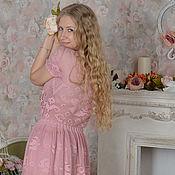"""Одежда ручной работы. Ярмарка Мастеров - ручная работа """"Античная Роза"""" элегантное кружевное филейное платье  с рукавчиками.. Handmade."""