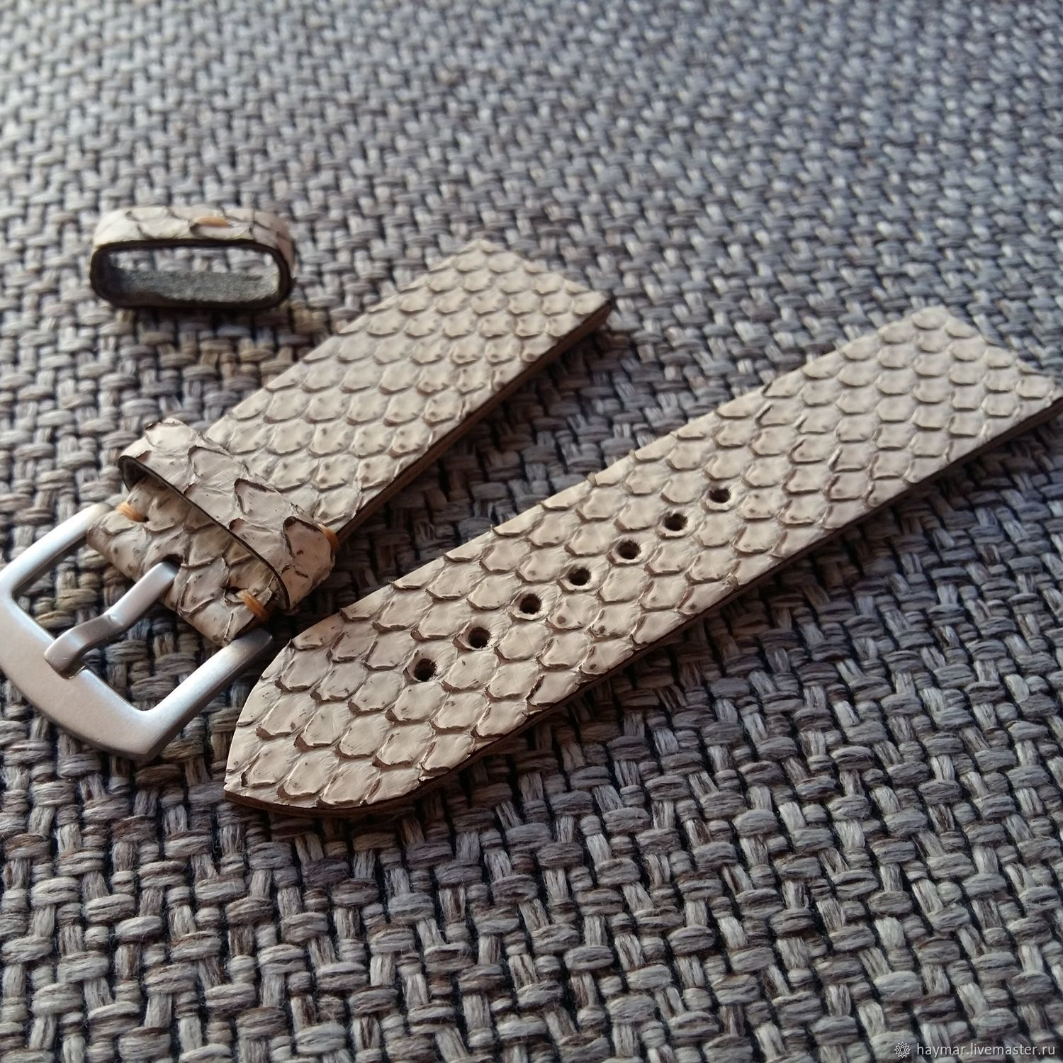 Snake leather strap beige 22mm i20mm, Straps, Moscow,  Фото №1
