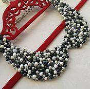 """Аксессуары handmade. Livemaster - original item Collar of natural pearls """"Black & White"""". Handmade."""