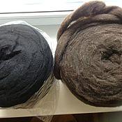 Сливер мерино-любимый -Черный и Белый , коричневый18мкр, Нов.Зеландия
