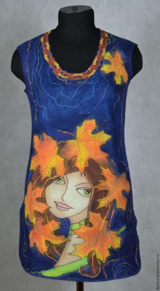 """Платья ручной работы. Ярмарка Мастеров - ручная работа. Купить туника валяная """"Подружка Осень"""". Handmade. Тёмно-синий"""