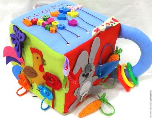 """Развивающие игрушки ручной работы. Ярмарка Мастеров - ручная работа. Купить Развивающий мега кубик звуковой """"Кукарекающий"""". Handmade."""