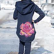 handmade. Livemaster - original item Dark blue zipper jacket with hood and print -SE0071W3. Handmade.